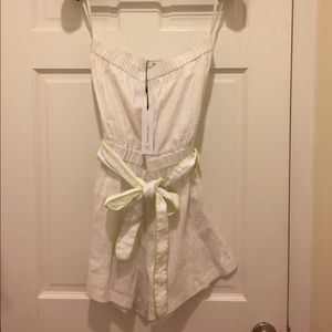 Miguelina white linen strapless romper NWTS Small